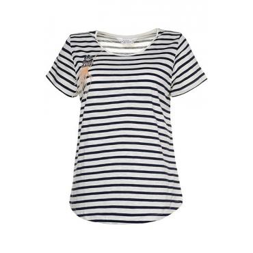 Studio Untold Damen  Shirt, Ringel, abnehmbare Brosche, Flammjersey, Halbarm, dunkelblau, Gr. 54/56, Mode in großen Größen
