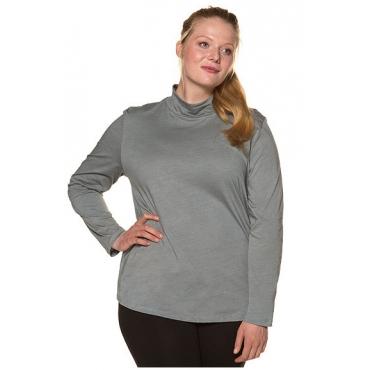 Ulla Popken Damen  Shirt, Bio-Baumwolle, Rollkragen, Langarm, grau, Gr. 58/60, Mode in großen Größen
