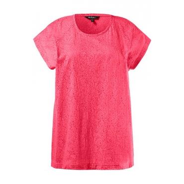 Ulla Popken Damen  T-Shirt, Zierfalten, Oversized, Rundhalsausschnitt, hibiskus-pink, Gr. 46/48, Mode in großen Größen