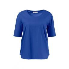 Große Größen Ulla Popken Damen  Shirt, Seiteneinsätze, Oversized, Flammjersey, Biobaumwolle, Blau, Gr. 42/44,46/48,50/52,54/56,58/60