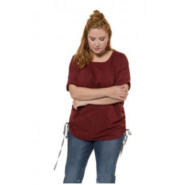 Studio Untold Damen  Shirt, seitliche Raffungen mit langen Bändern, Halbarm, granatapfel, Gr. 46/48, Mode in großen Größen