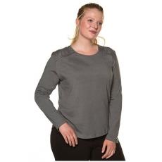Große Größen Ulla Popken Damen  Shirt, Spitzenschulter, Langarm, Biobaumwolle, Beige, Gr. 42/44,46/48,50/52,54/56,58/60