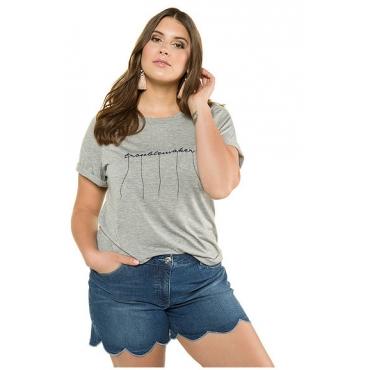 Studio Untold Damen  Shirt, Statement-Stickerei mit Longfransen, Halbarm, hellgrau-melange, Gr. 54/56, Mode in großen Größen