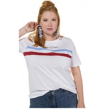 Studio Untold Damen  Shirt, Streifen, Halbarm, weiß, Gr. 46/48, Mode in großen Größen