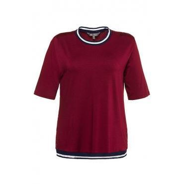 Ulla Popken Damen  Shirt, Streifenbündchen, Regular, Metallic-Effekt, dunkelrot, Gr. 58/60, Mode in großen Größen