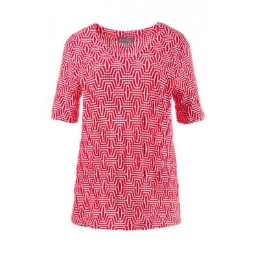 Große Größen Ulla Popken Damen  Shirt, Struktur, Classic, V-Ausschnitt, Selection, Rot, Gr. 42/44,46/48,50/52,54/56,58/60,62/64