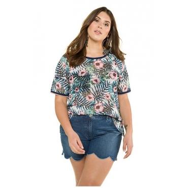 Große Größen Ulla Popken Damen  Shirt, transparenter Mesh mit Blüten, Halbarm, Mehrfarbig, Gr. 42/44,46/48,50/52,54/56