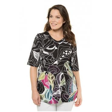 Ulla Popken Damen  Shirt, Blüten-Design, langer Halbarm, selection, schwarz, Gr. 58/60, Mode in großen Größen