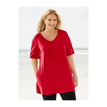 Ulla Popken Damen  Shirt, V-Ausschnitt, länger geschnitten, Halbarm, rot, Gr. 58/60, Mode in großen Größen