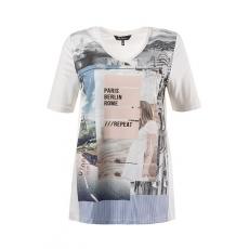 """Große Größen Ulla Popken Damen  Shirt, V-Ausschnitt, """"St. Tropez""""-Motiv, Halbarm, Typ Classic, Weiß, Gr. 42/44,46/48,50/52,54/56,58/60"""