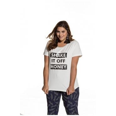Ulla Popken Damen  Shirt, Slim-Fit, Statement-Motiv, Metallic-Effekt, offwhite, Gr. 50/52, Mode in großen Größen