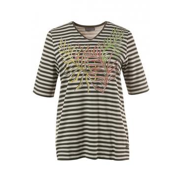 Große Größen Ulla Popken Damen  Shirt, Ziernieten, Classic, V-Ausschnitt, florales Motiv, Grün, Gr. 42/44,46/48,50/52,54/56,58/60