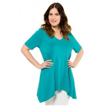 Ulla Popken Damen  Shirt, Zipfelsaum, Halbarm, aquablau, Gr. 42/44, Mode in großen Größen