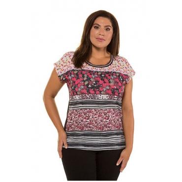 Ulla Popken Damen  Shirtbluse, Musterstreifen, Oversized, Flammjersey, schwarz, Gr. 58/60, Mode in großen Größen