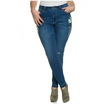 Studio Untold Damen  Skinny-Jeans, Destroy-Effekte, Stickerei, Stretchdenim, blue, Gr. 54, Mode in großen Größen