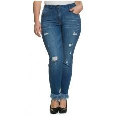 Große Größen Ulla Popken Damen  Skinny-Jeans, Destroy-Effekte, Fransensaum, Stretchdenim, Blau, Gr. 42,44,46,48,50,52,54