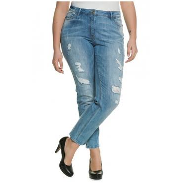 fb60049e9d9f1c Große Größen Ulla Popken Damen Skinny-Jeans, Destroy-Effekte, Saum- Reißverschlüsse