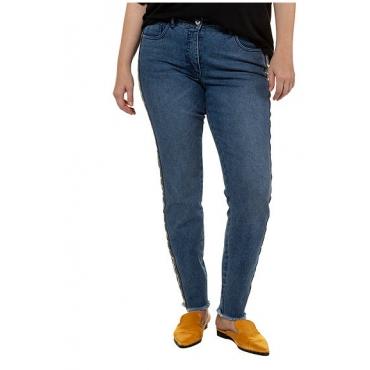 Studio Untold Damen  Skinny, Jeans, gemusterter Galonstreifen, 5-Pocket, blue denim, Gr. 54, Mode in großen Größen
