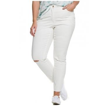 Große Größen Ulla Popken Damen  Skinny-Jeans, Risse am Knie, 5-Pocket-Form, Fransensaum, Weiß, Gr. 50,54,42,44,46,48,52