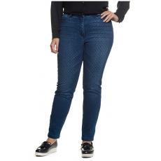 Große Größen Ulla Popken Damen  Skinny-Jeans, Wasch-Effekte, Punkte, Stretch, Blau, Gr. 46,48,50,52,54