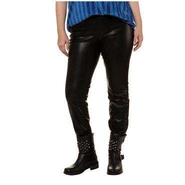 Studio Untold Damen  Skinny, Lederoptik, elastisch, schmales Bein, schwarz, Gr. 52, Mode in großen Größen
