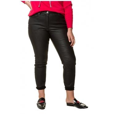 Studio Untold Damen  Skinny, trendig gecoatet, 5-Pocket, schwarz, Gr. 54, Mode in großen Größen