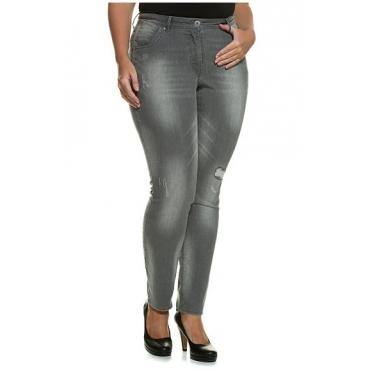 Studio Untold Damen  Skinnyhose, Destroy-Effekte, Gürtelschlaufen, grey, Gr. 54, Mode in großen Größen