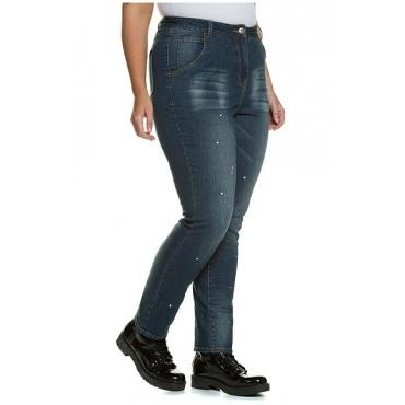 Studio Untold Damen  Skinnyhose, Farbkleckse, schmales Bein, helle Waschung, darkblue, Gr. 54, Mode in großen Größen