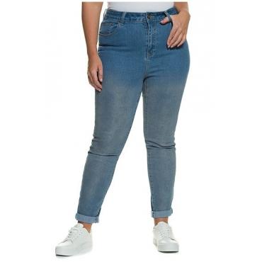 Große Größen Ulla Popken Damen  Skinnyhose, Silber-Coating, schmales Bein, 5-Pocket-Form, Blau, Gr. 44,46,48,50,52,54