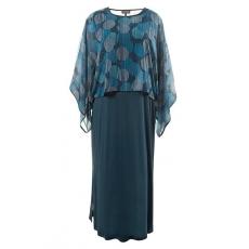 Große Größen Ulla Popken Damen  Slinky-Kleid, transparenter Überwurf, lange Seitenschlitze, Selection, Blau, Gr. 42/44,46/48,50/52,54/56,58/60
