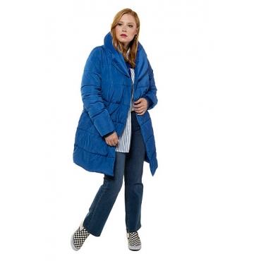 Studio Untold Damen  Steppmantel, Eggshape, Schalkragen, Langarm, blau, Gr. 54/56, Mode in großen Größen