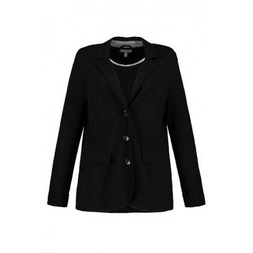 Ulla Popken Damen  Sweatblazer, Reversform, gemusterter Unterkragen, schwarz, Gr. 44, Mode in großen Größen