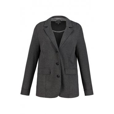 Ulla Popken Damen  Sweatblazer, Reversform, gemusterter Unterkragen, grau-melange, Gr. 58, Mode in großen Größen