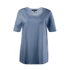 Große Größen Ulla Popken Damen  T-Shirt, 3D-Schaumdruck, Oversized, oil dyed, Blau, Gr. 42/44,46/48,50/52,54/56,58/60,62/64