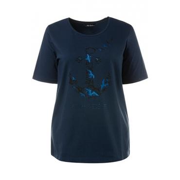 Ulla Popken Damen  T-Shirt, Anker-/Möven-Motiv, Classic, Glitter, dunkelblau, Gr. 58/60, Mode in großen Größen