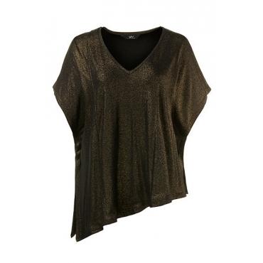 Ulla Popken Damen  T-Shirt, asymmetrisch, Metallic-Beschichtung, schwarz, Gr. 50/52, Mode in großen Größen