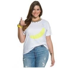Große Größen Ulla Popken Damen  T-Shirt, Bananenmotiv, Regular, Druck/Stickerei, Weiß, Gr. 42/44,46/48,50/52,54/56
