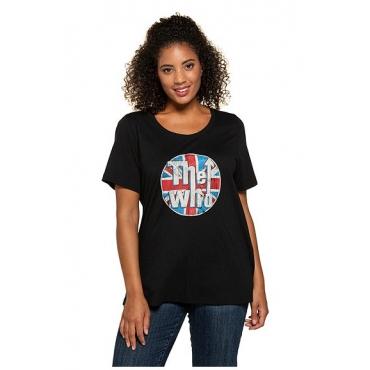 Ulla Popken Damen  T-Shirt, Bandmotiv, Rundhalsausschnitt, schwarz, THE WHO, Gr. 58/60, Mode in großen Größen