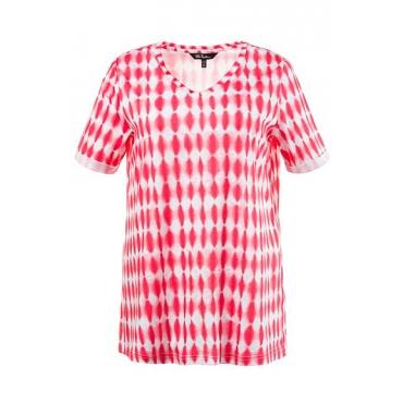 Große Größen Ulla Popken Damen  T-Shirt, Batik-Rhomben, Classic, V-Ausschnitt, Rot, Gr. 42/44,46/48,50/52,54/56,58/60,62/64