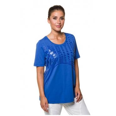 Ulla Popken Damen  T-Shirt, bedruckt, Classic, Rundhalsausschnitt, Stretch, royalblau, Gr. 58/60, Mode in großen Größen