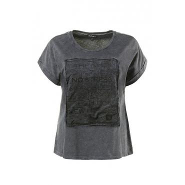 Große Größen Ulla Popken Damen  T-Shirt, bedruckter Aufnäher, Ziersteine, reine Baumwolle, Blau, Gr. 42/44,46/48,50/52,54/56,58/60