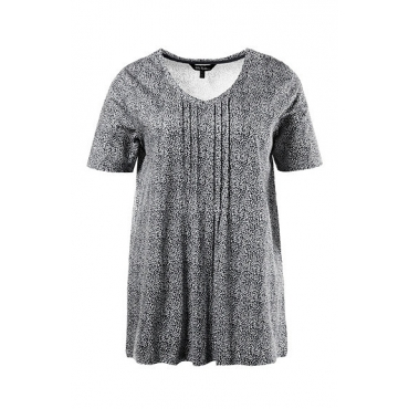 Ulla Popken Damen  T-Shirt, V-Ausschnitt, Minimalmuster, schwarz, Gr. 54/56, Mode in großen Größen
