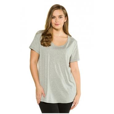 Ulla Popken Damen  T-Shirt, Biesen, Rundhalsausschnitt, Biobaumwolle, hellgrau-melange, Gr. 58/60, Mode in großen Größen