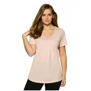 Ulla Popken Damen  T-Shirt, Biesen, Rundhalsausschnitt, Biobaumwolle, rosa, Gr. 58/60, Mode in großen Größen