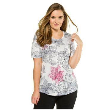 Ulla Popken Damen  T-Shirt, Blattmuster, Classic, Biobaumwolle, offwhite-rauchblau, Gr. 58/60, Mode in großen Größen