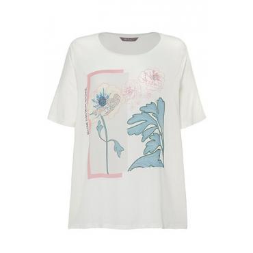 Ulla Popken Damen  T-Shirt, Blütenmotiv, Classic, Glitzersteine, helles beige, Gr. 58/60, Mode in großen Größen
