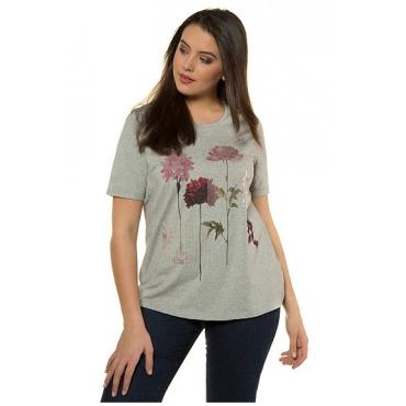 Ulla Popken Damen  T-Shirt, Blütenmotiv, Classic, Paillettenstreifen, grau-melange, Gr. 58/60, Mode in großen Größen