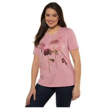 Ulla Popken Damen  T-Shirt, Blütenmotiv, Classic, Paillettenstreifen, pfingstrose, Gr. 58/60, Mode in großen Größen