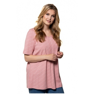 Ulla Popken Damen  T-Shirt, Blütenmuster, A-Linie, Biesen, V-Ausschnitt, antique mauve, Gr. 58/60, Mode in großen Größen