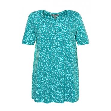 Ulla Popken Damen  T-Shirt, Blütenmuster, A-Linie, Zierfalten, Elasthan, aquablau, Gr. 58/60, Mode in großen Größen